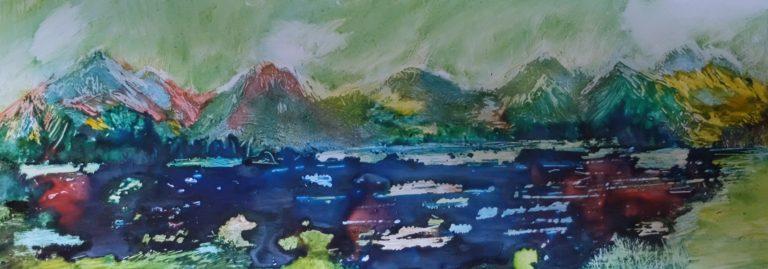 2020 Chiemgau Acryl,Tusche auf Alu (), Reinhard Strobel