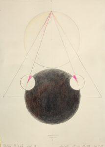 Pylon Black Sun 202 40 x 30 cm Bleistift und Buntstift auf Papier Handsigniert by Heidi Baudrich