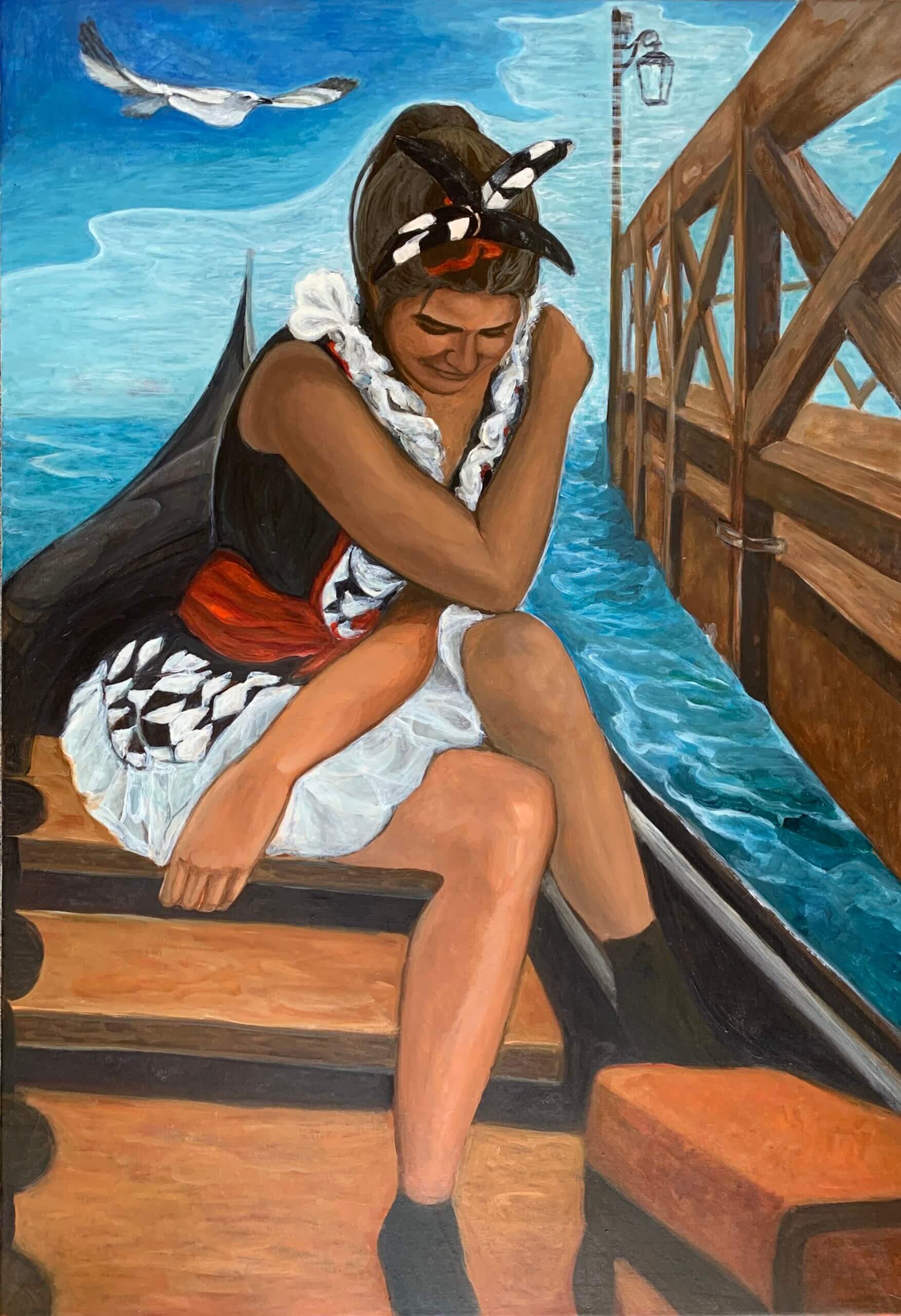 Colombina in gondola, 130x90 cm, 2020, Öl auf Leinwand Tatjana Meier