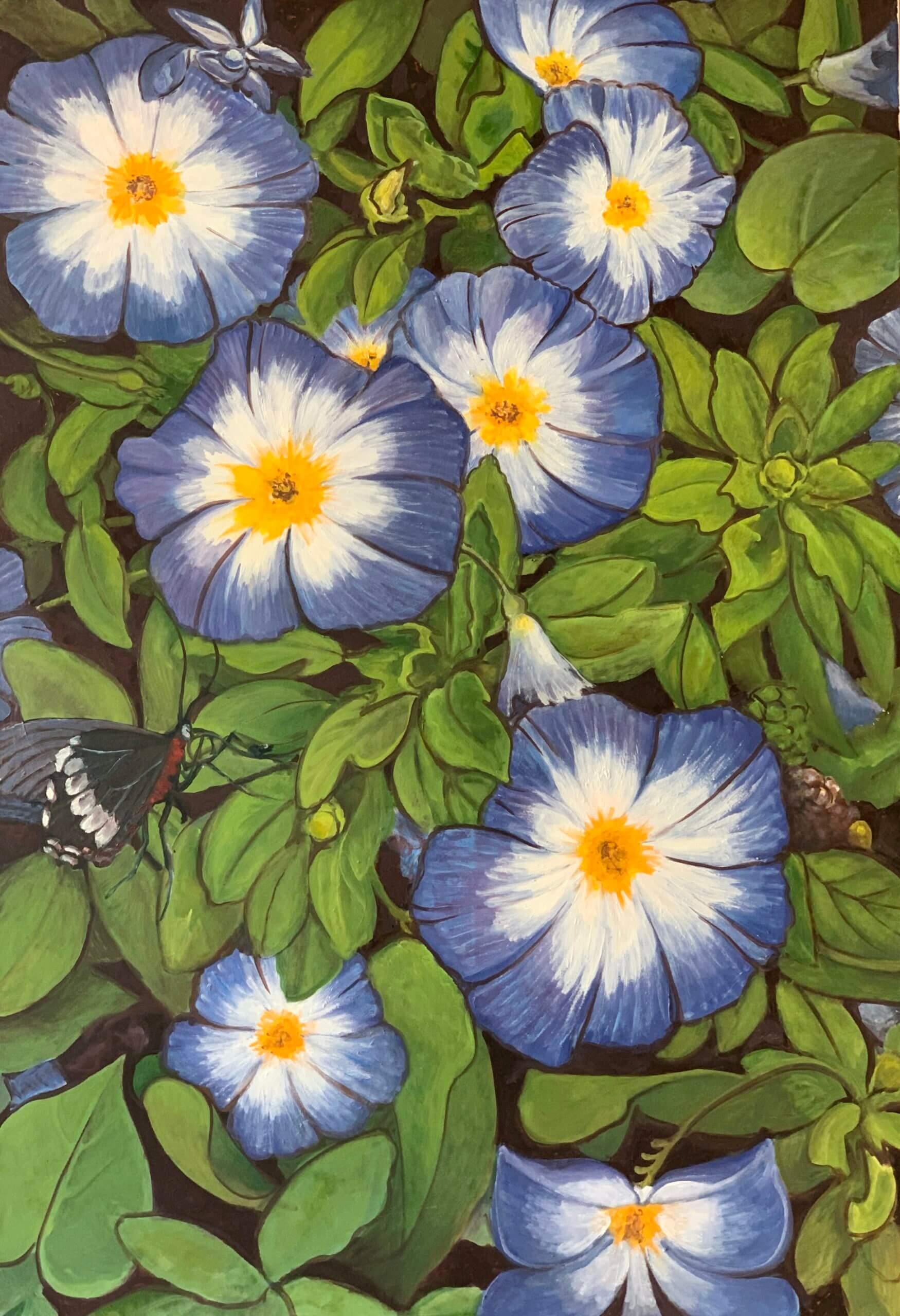 Diskussion in Blau (Blaue Blumen), 130x90 cm, 2017, Öl auf Leinwand Tatjana Meier