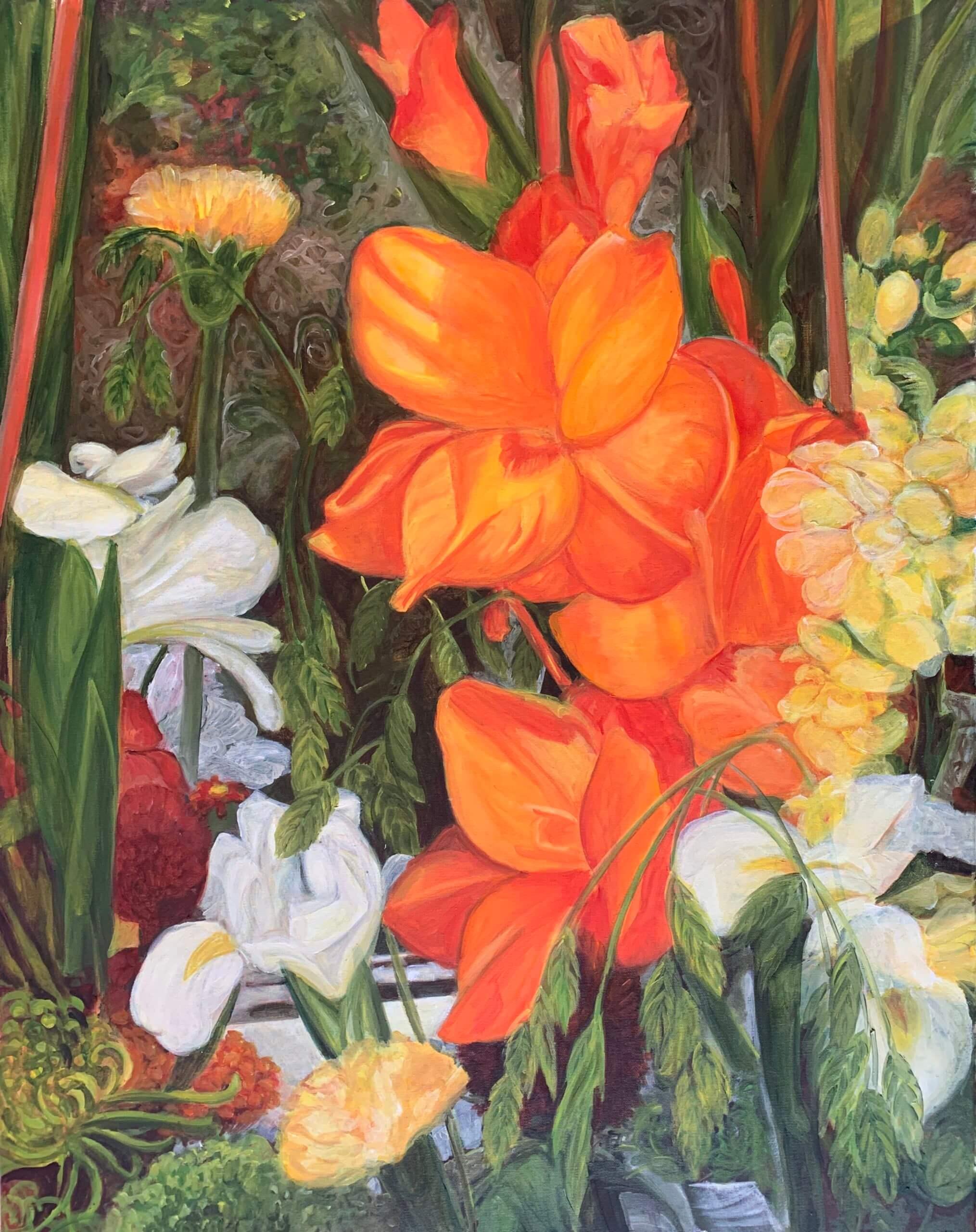 Lilien, 80x60 cm, 2019, Öl auf Leinwand Tatjana Meier
