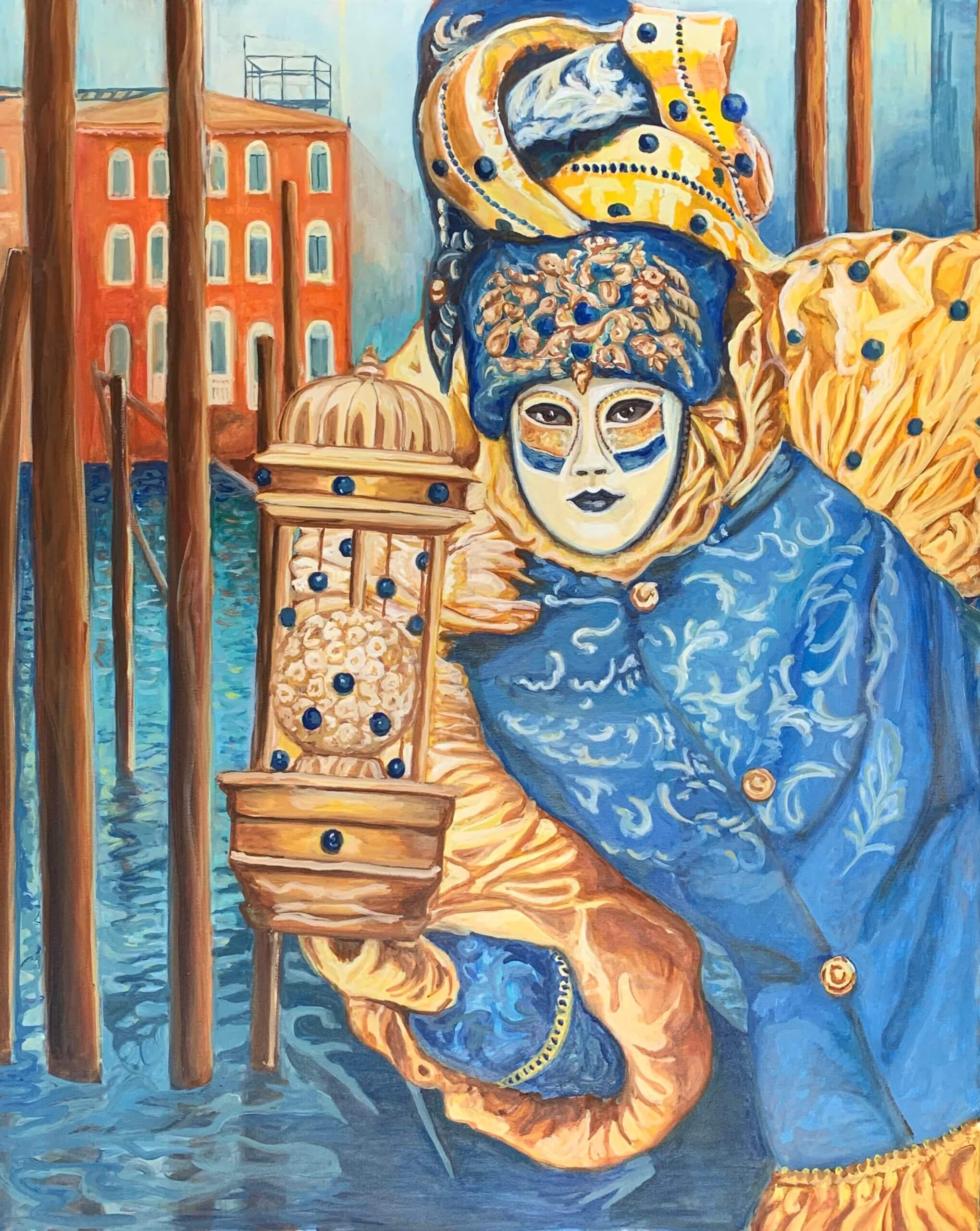 Omaggio all`amata Venezia. La mascherina blu, 100x80cm, 2020, Öl auf Leinwand Tatjana Meier