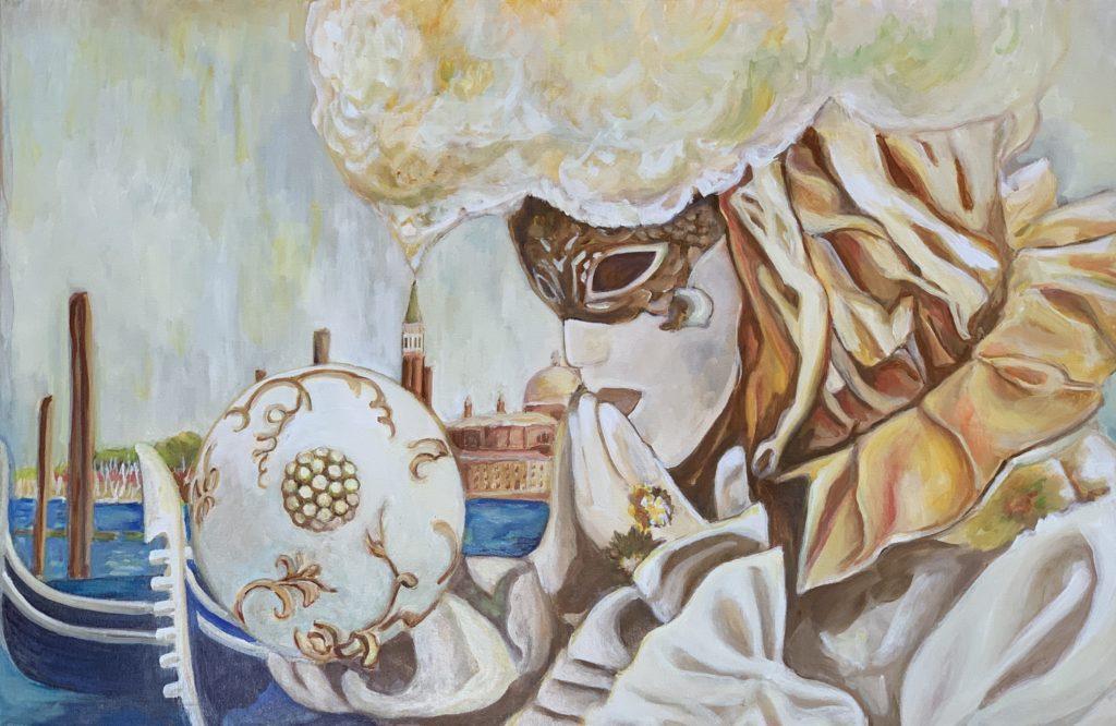 Omaggio all`amata Venezia. La mascher(in)a giusta, 90x60 cm, 2020, Öl auf Leinwand Tatjana Meier