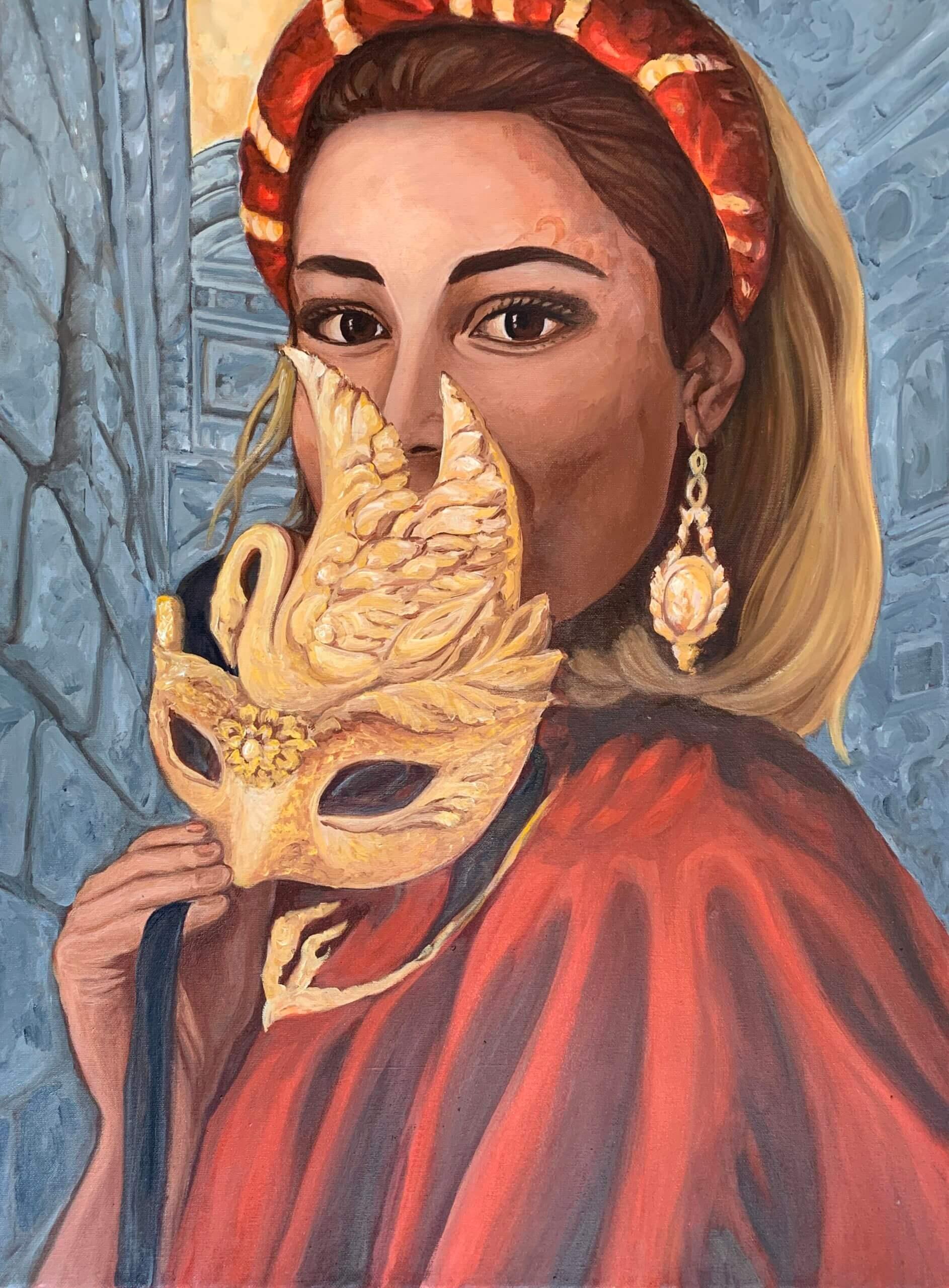 Omaggio all`amata Venezia. La mascherina rossa, 80x60cm, 2020, Öl auf Leinwand tatjana Meier