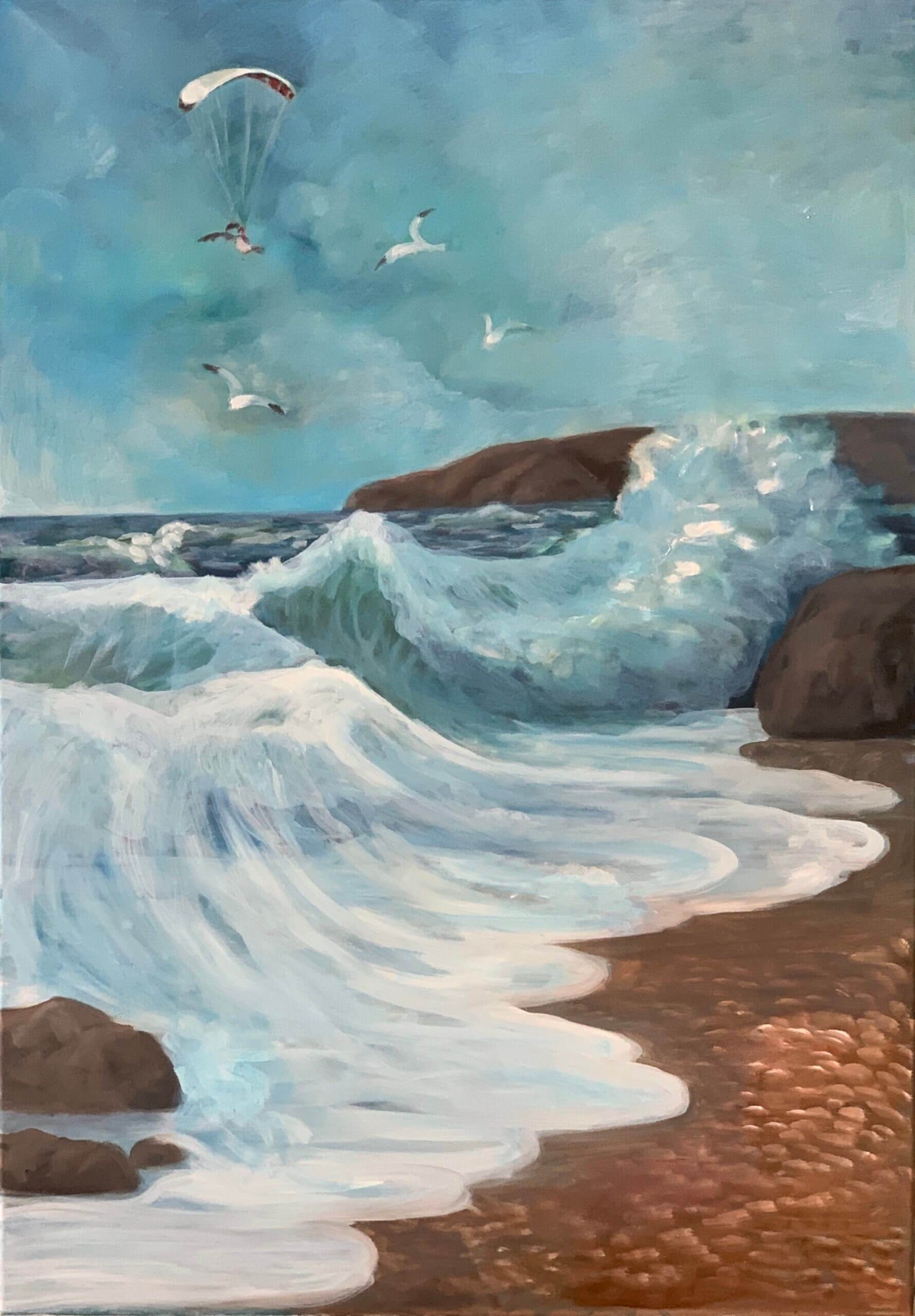 Welle, 70x50 cm, 2020, Öl auf Leinwand Tatjana Meier
