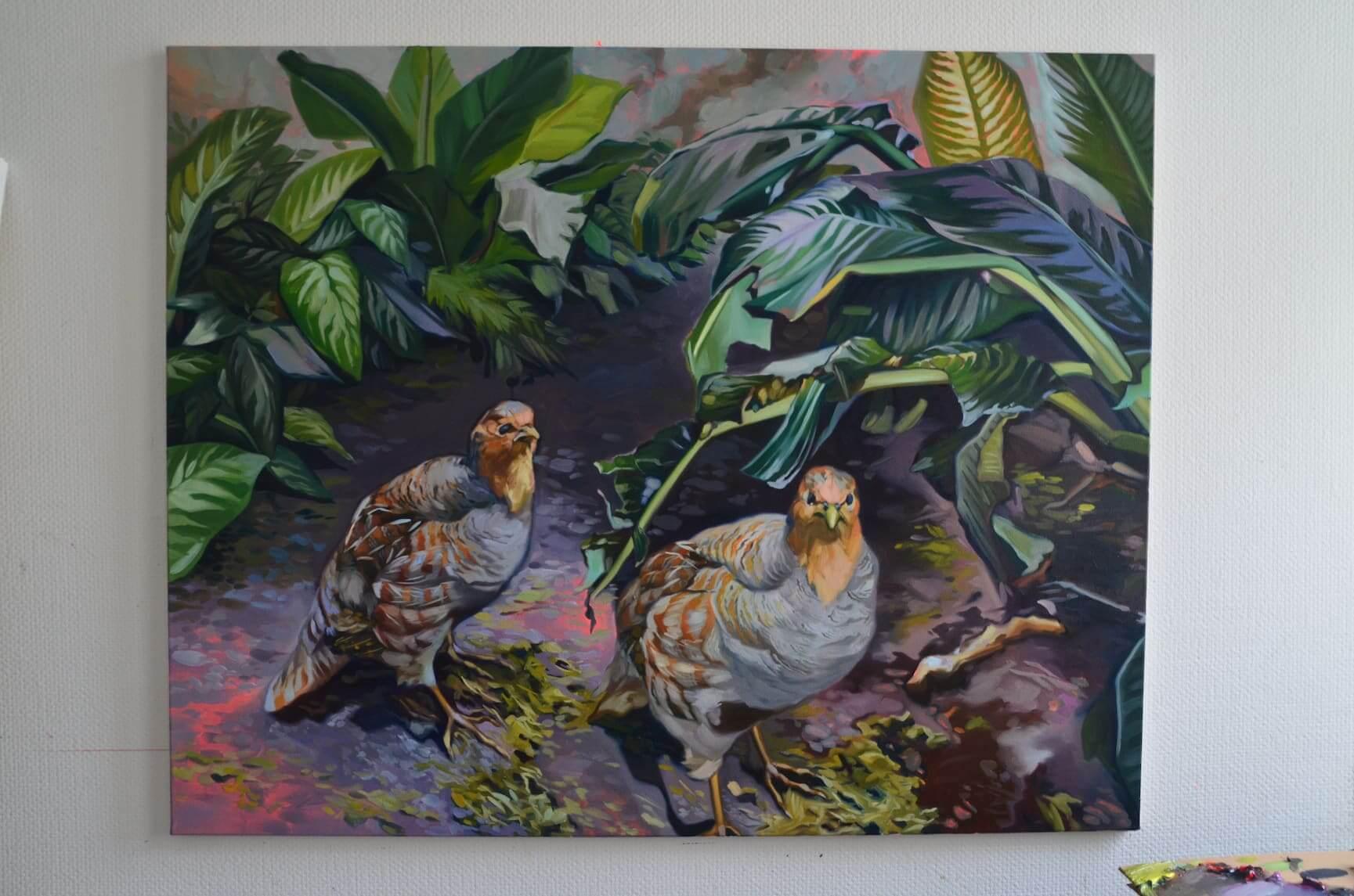 Apokalypsenhühner, 140x 120cm, Öl auf Leinwand, 2020 Hanne Kroll