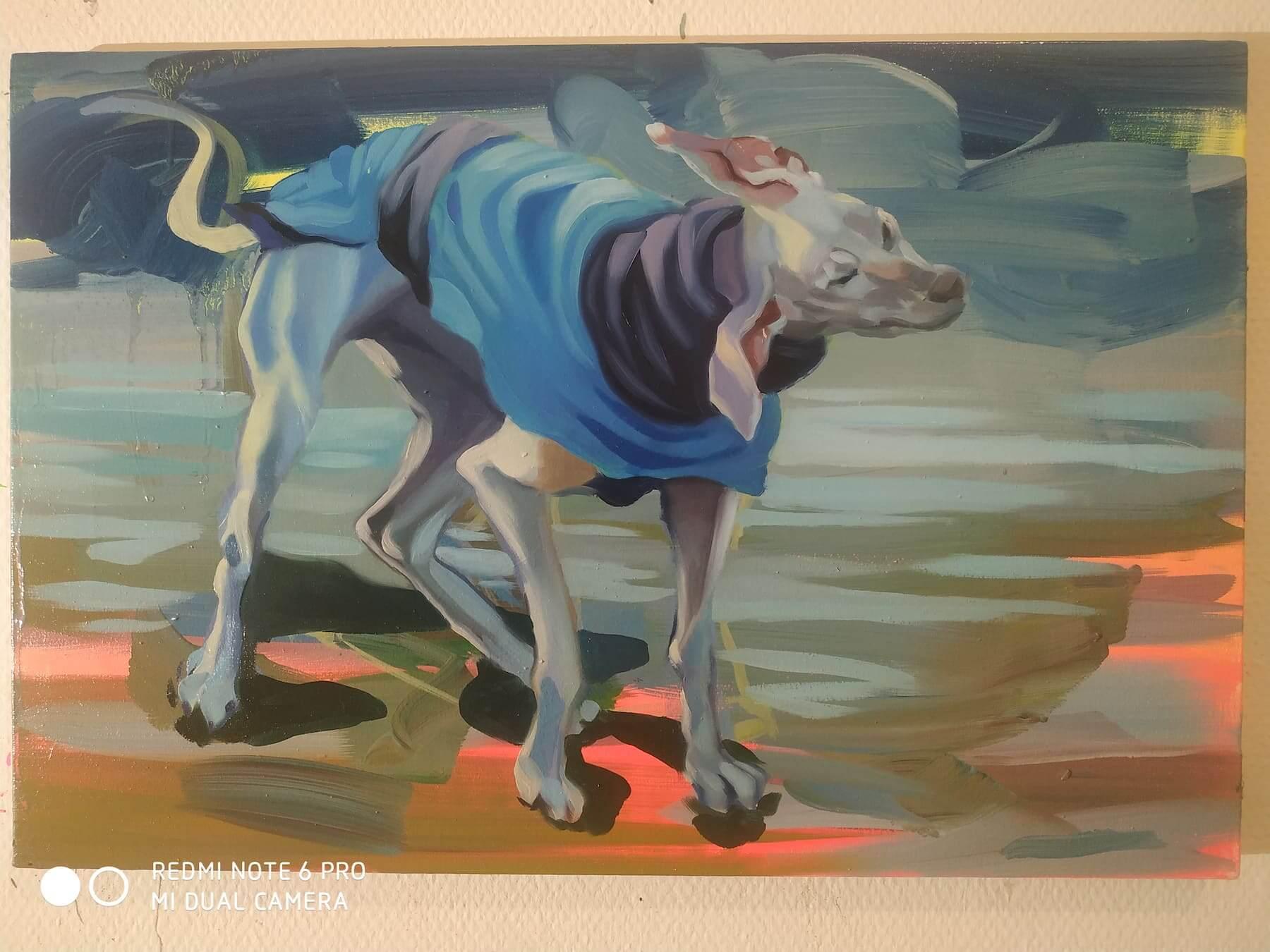 Twister, 30x50cm, Öl auf Leinwand, 2021 by Hanne Kroll