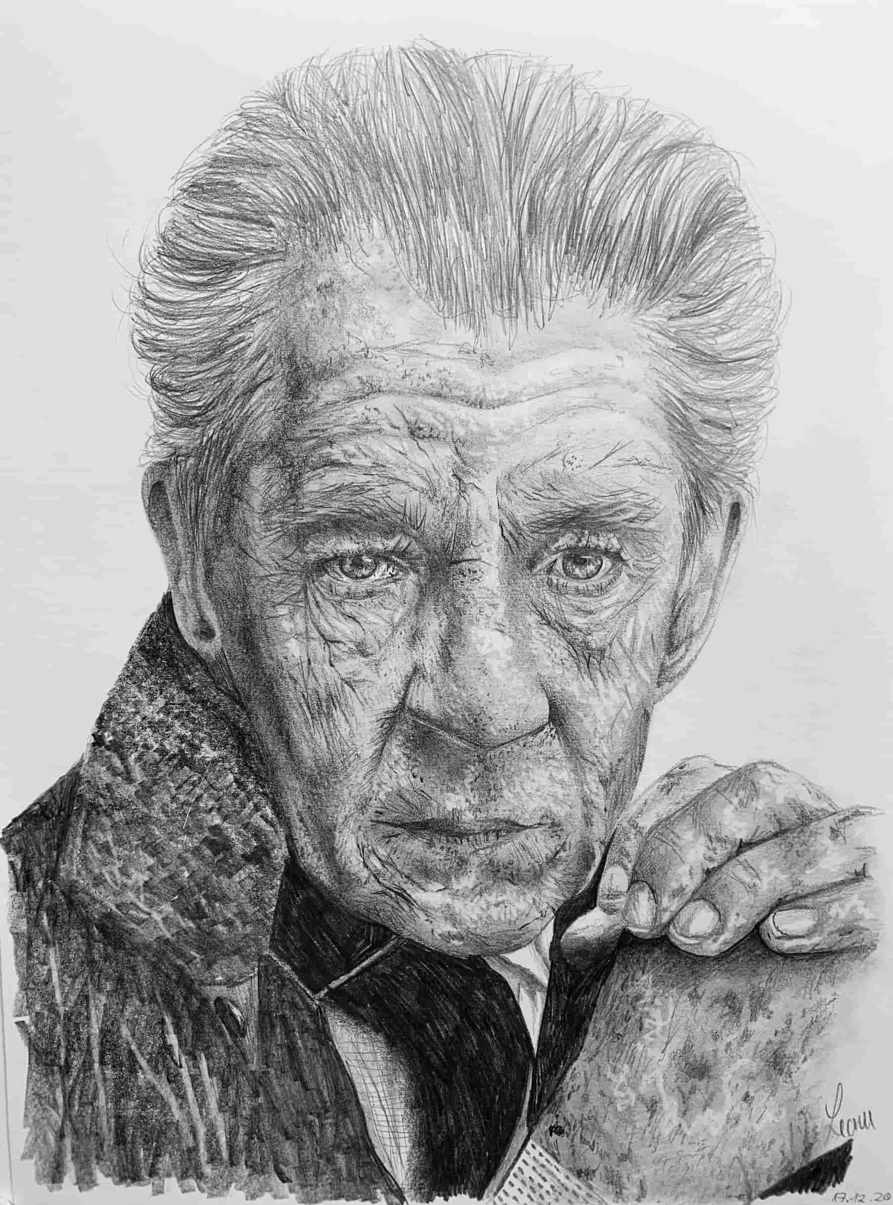 Ian McKellen; 2020; A4; Bleistift auf Zeichenpapier