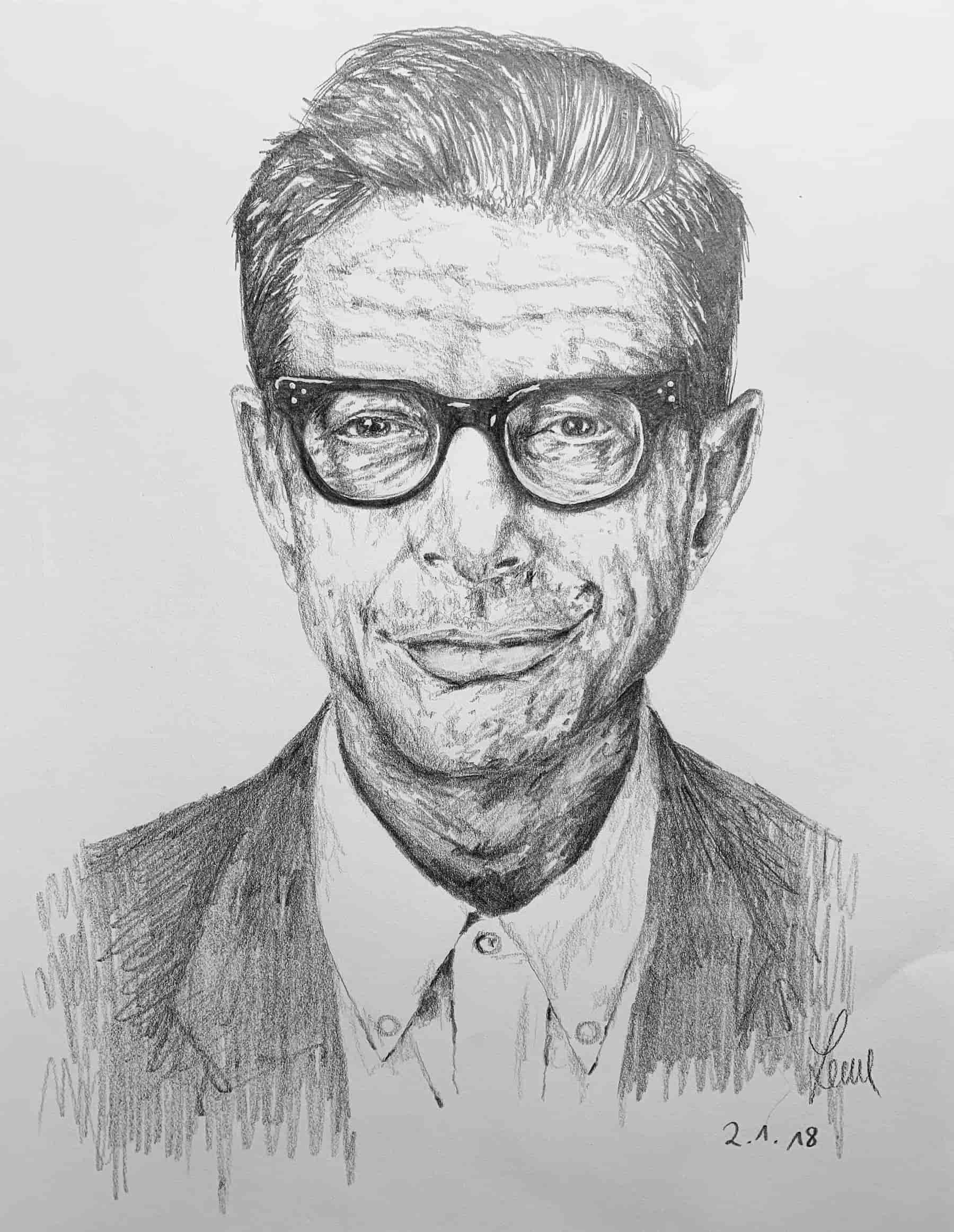 Jeff Goldblum; 2018; A4; Bleistift auf Zeichenpapier
