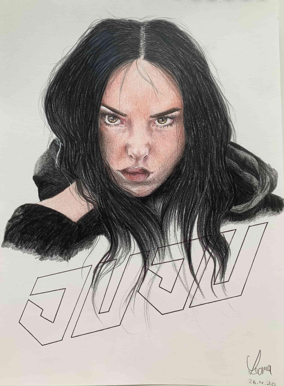 Juju 44; 2020; A4; Buntstift auf Zeichenpapier
