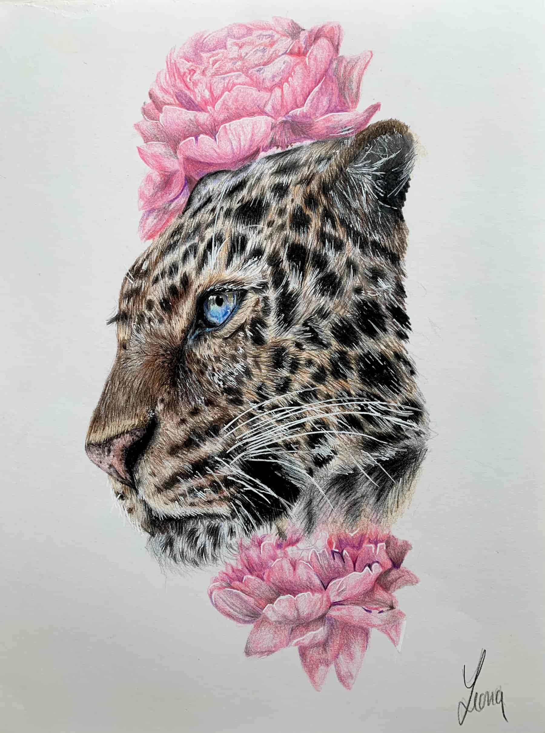 Leopard; 2020; A4; Buntstift auf Zeichenpapier