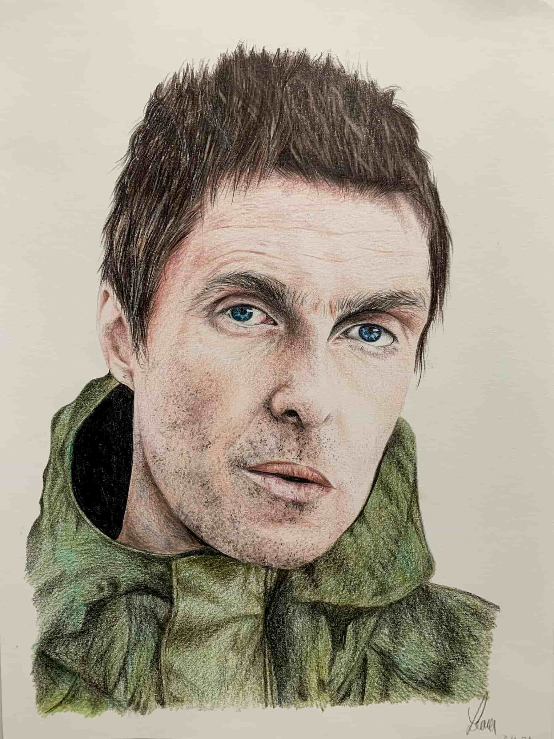 Liam Gallagher; 2021; A4; Buntstift auf Zeichenpapier