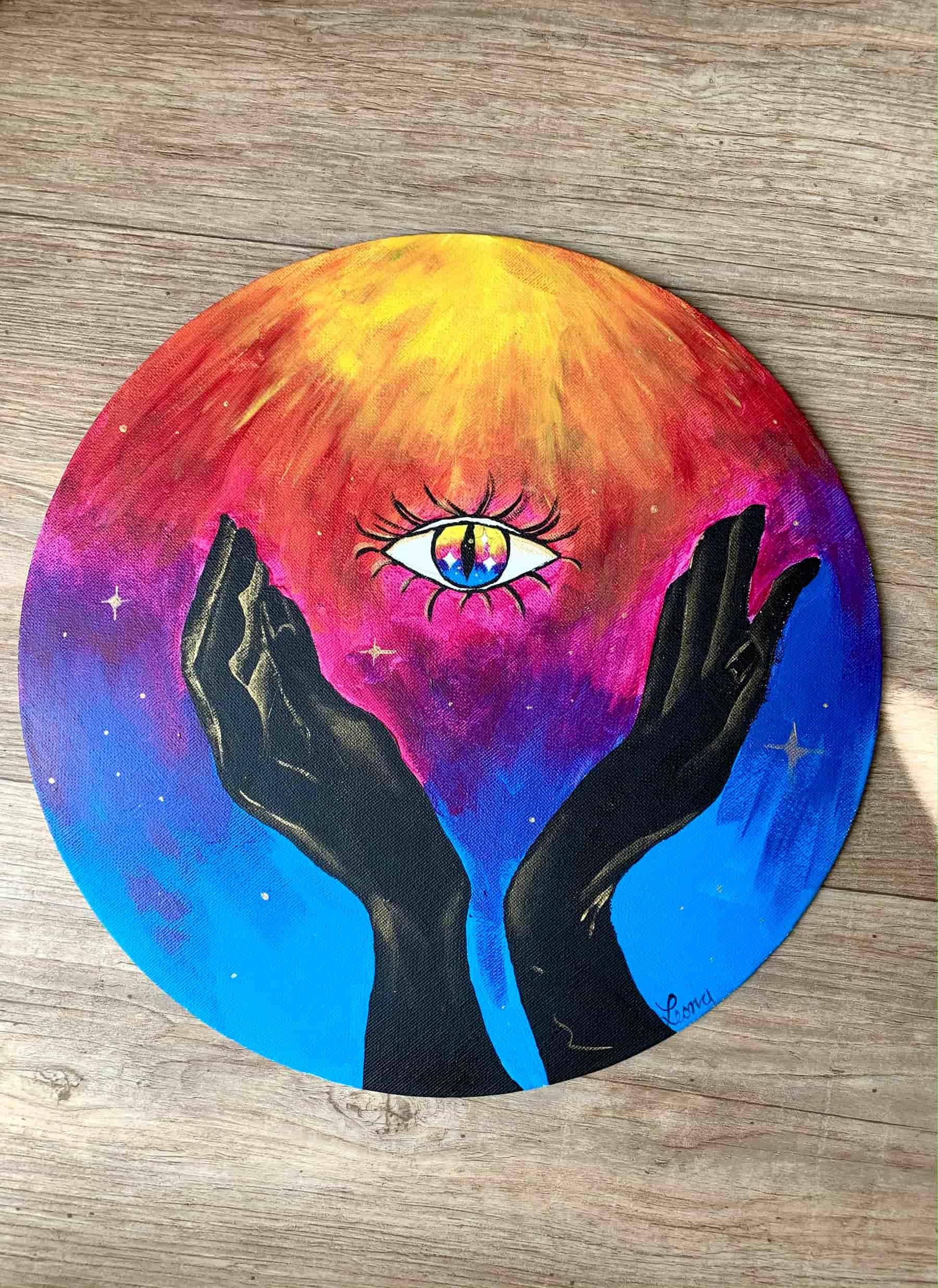 The sun; 2021; 30cm Durchmesser; Acryl auf Leinwand