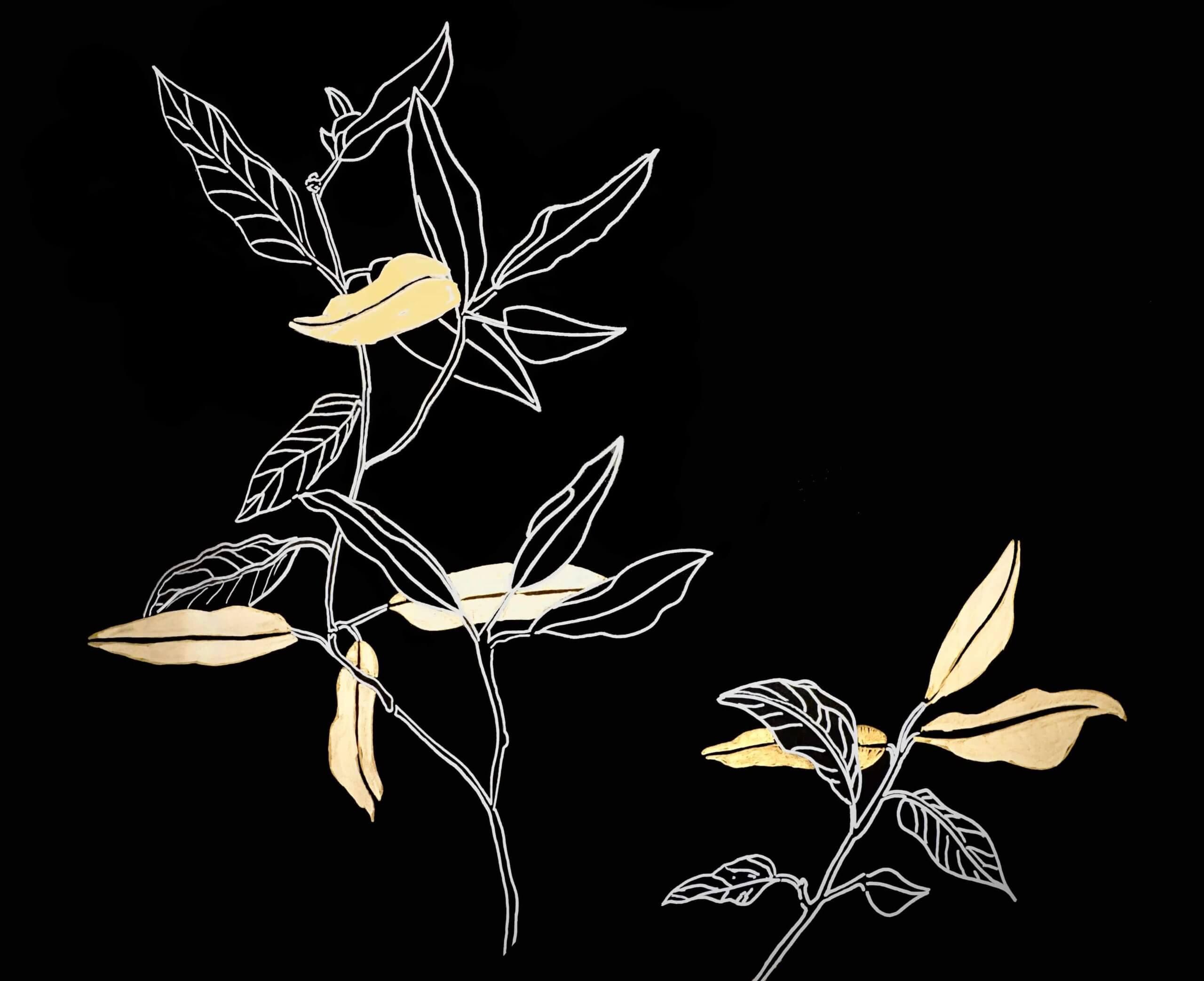 goldene blätter viereck