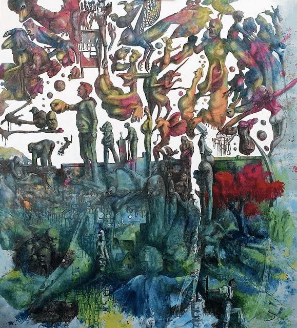Decalcomanie, 170 x 150 cm, Acryl, Öl auf Leinwand