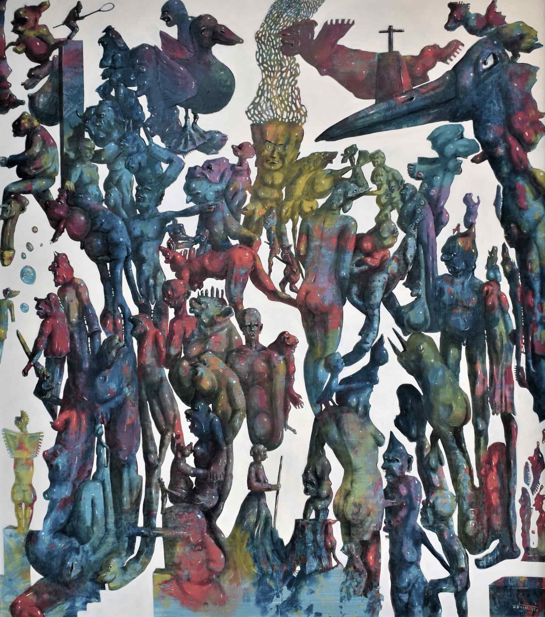 Die Moral, 150 x 150 cm, Acryl, Öl auf Leinwand