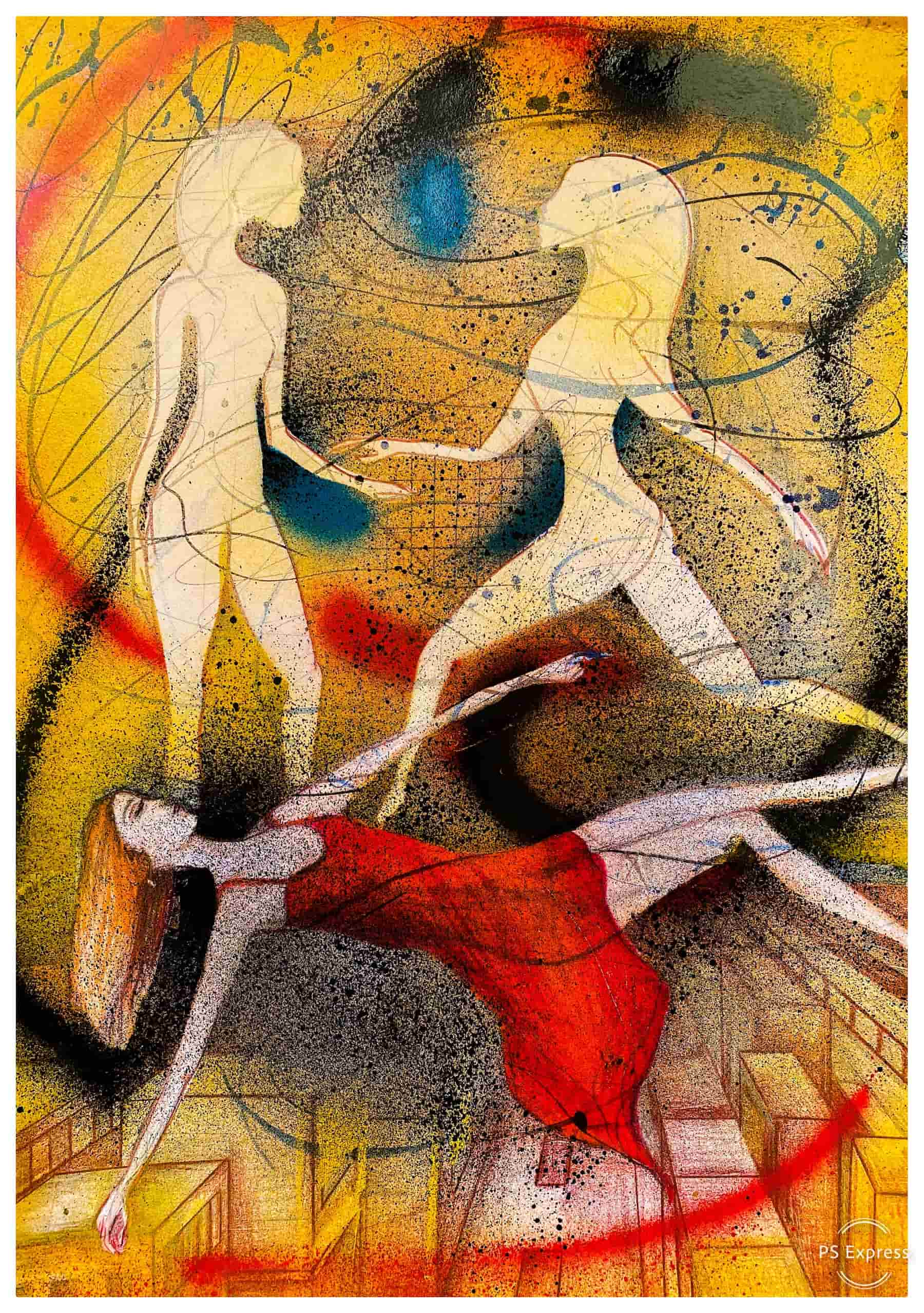 Thank you for, A3, Buntstift und Graffiti auf Papier by Katja Hofmann