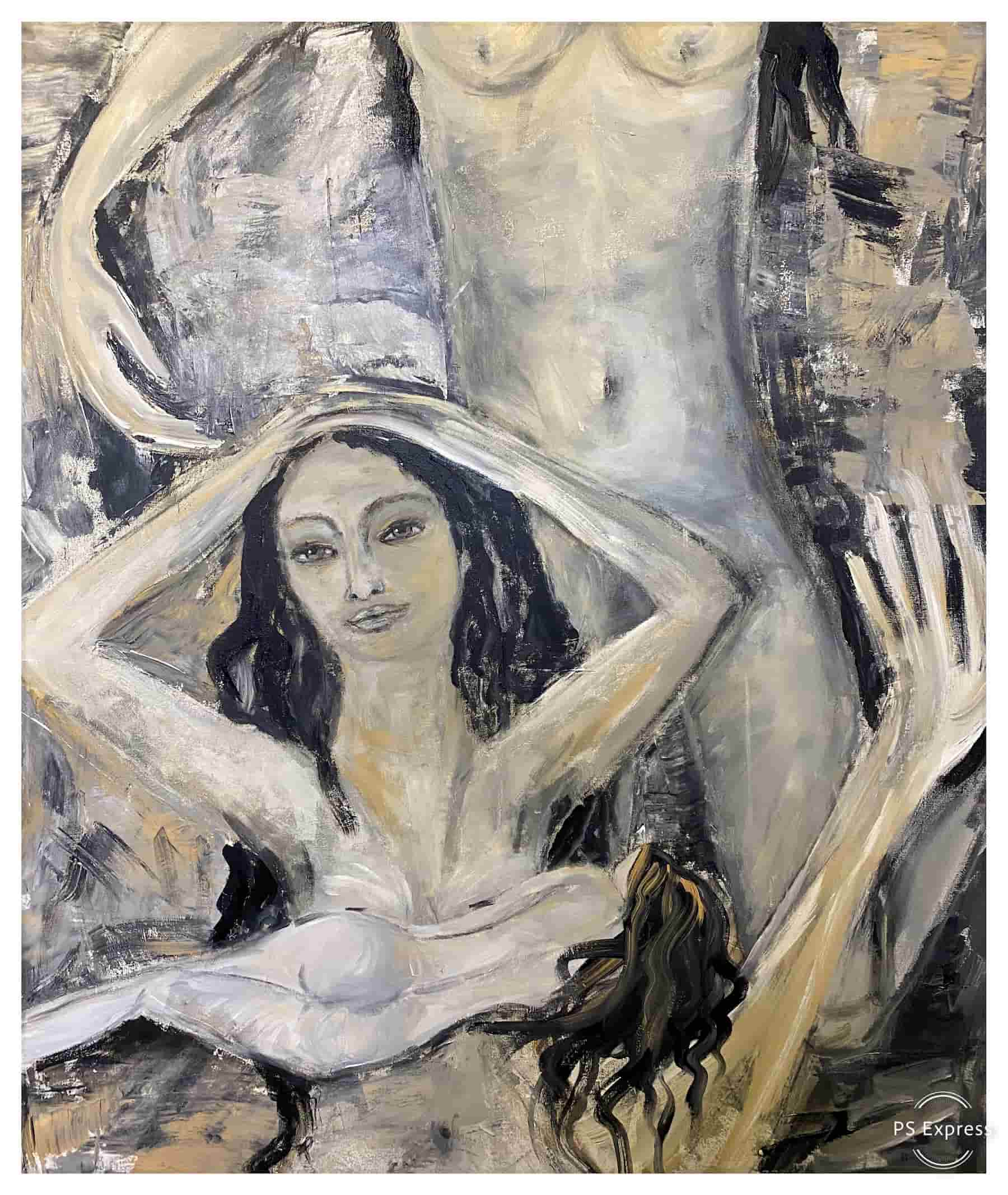Bild Traum (Acryl und Kohle auf Leinwand, 1,01,10m) by Katja Hofmann