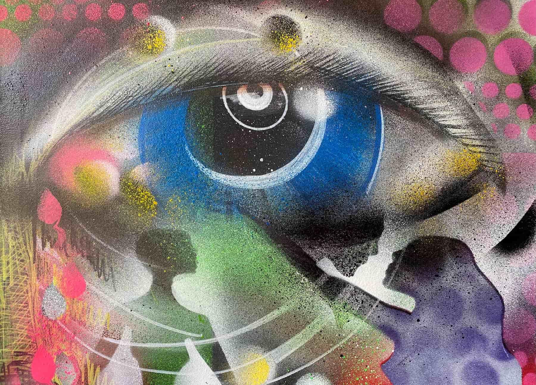 See You, A3, Graffiti auf Leinwand by Katja Hofmann