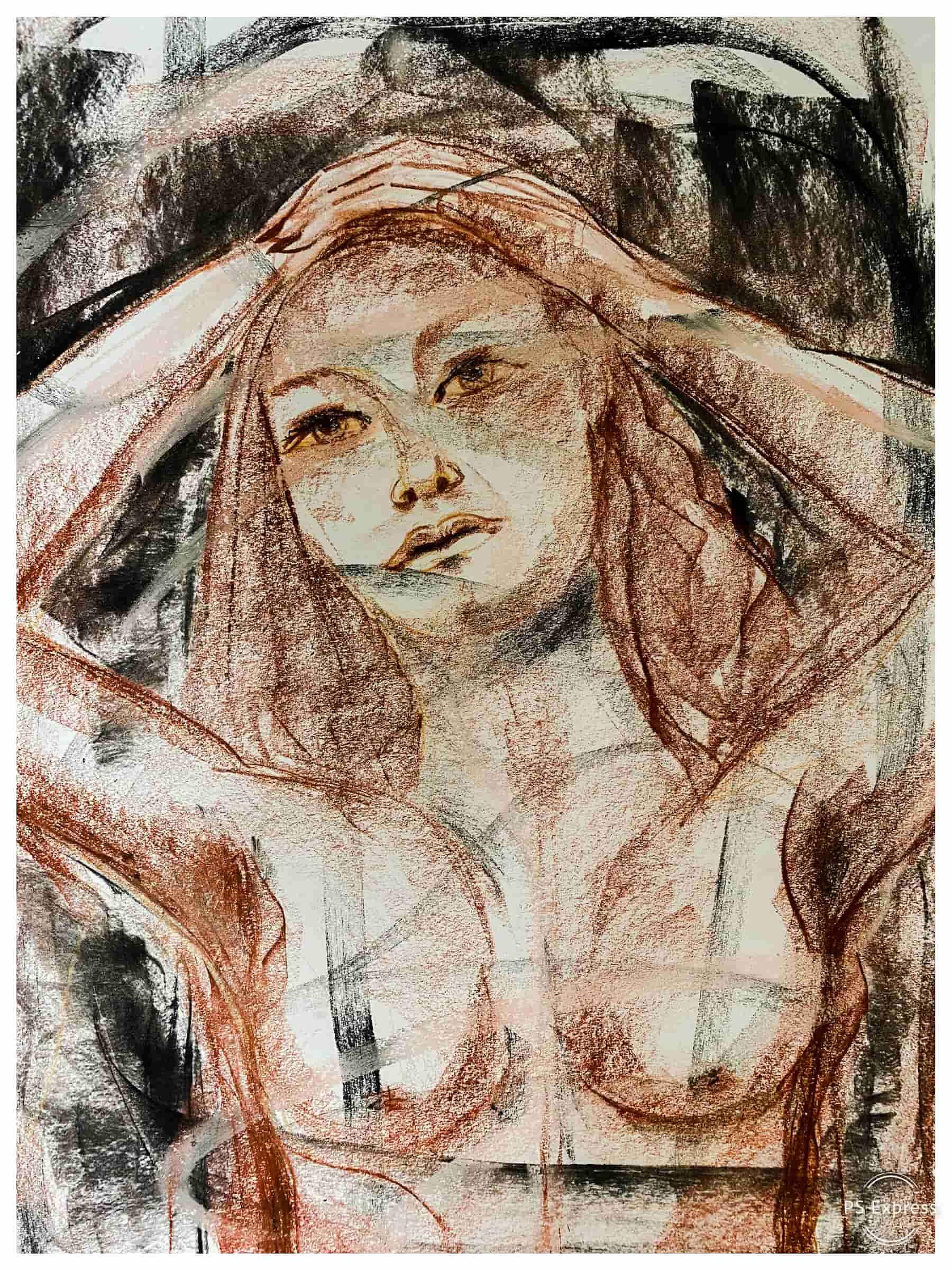 4. Bild Weiblicher Akt (Kohle, Kreide auf Papier, A3) by Katja Hofmann