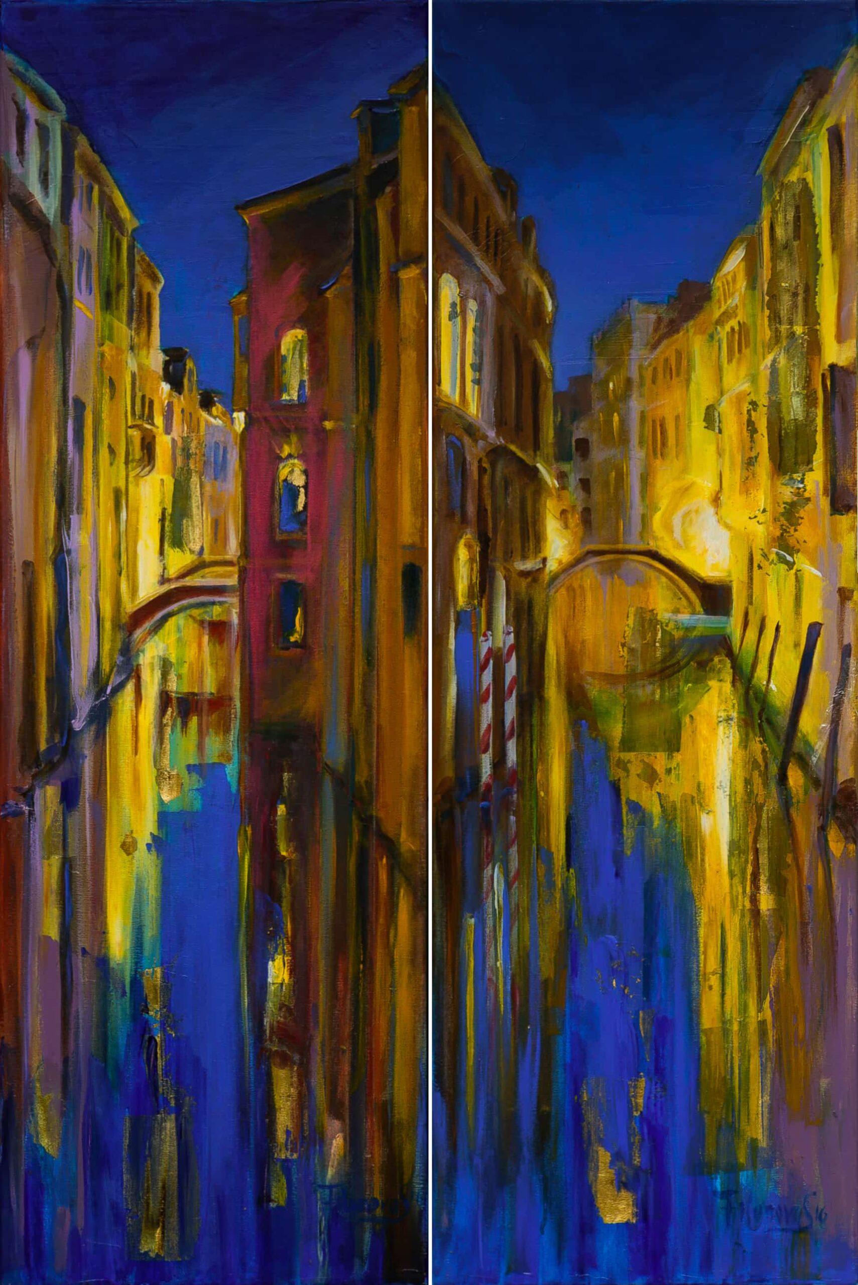 Canals of Venice Night_Diptich_Acrylic_Leinwand_120_80cm_2016 Svetlana Catif-Filonova
