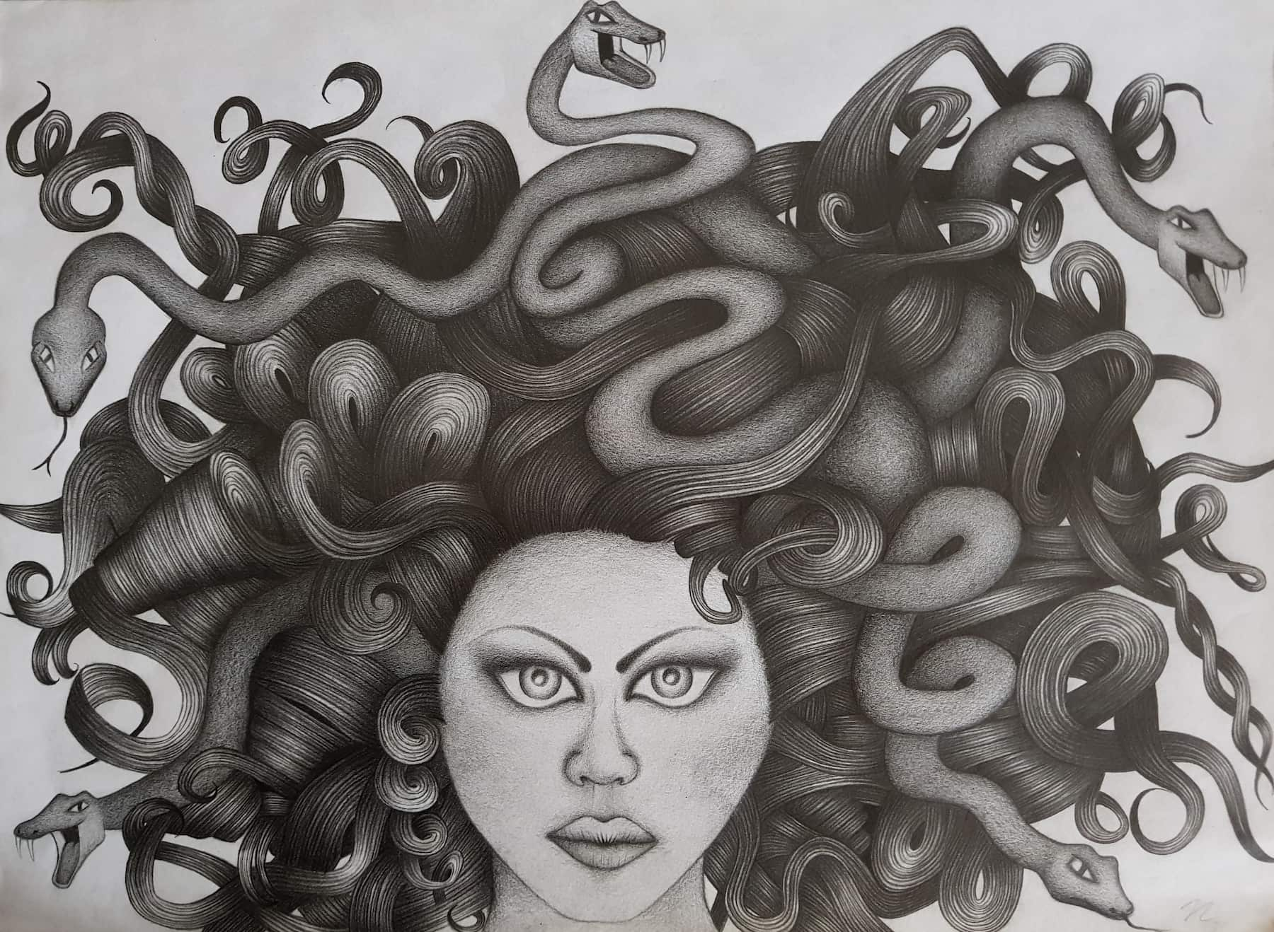 Medusa - 29,5cm x 40,5cm - Bleistift auf Papier by Nadin Wunderlich