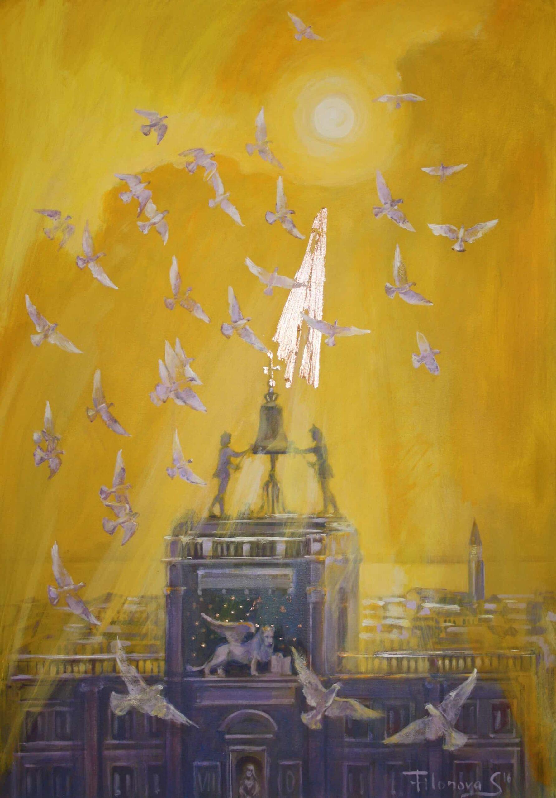 Venedig San Marko Pigeons 2_Acryl_Leinwand_70_100cm_2016Svetlana Catif-Filonova