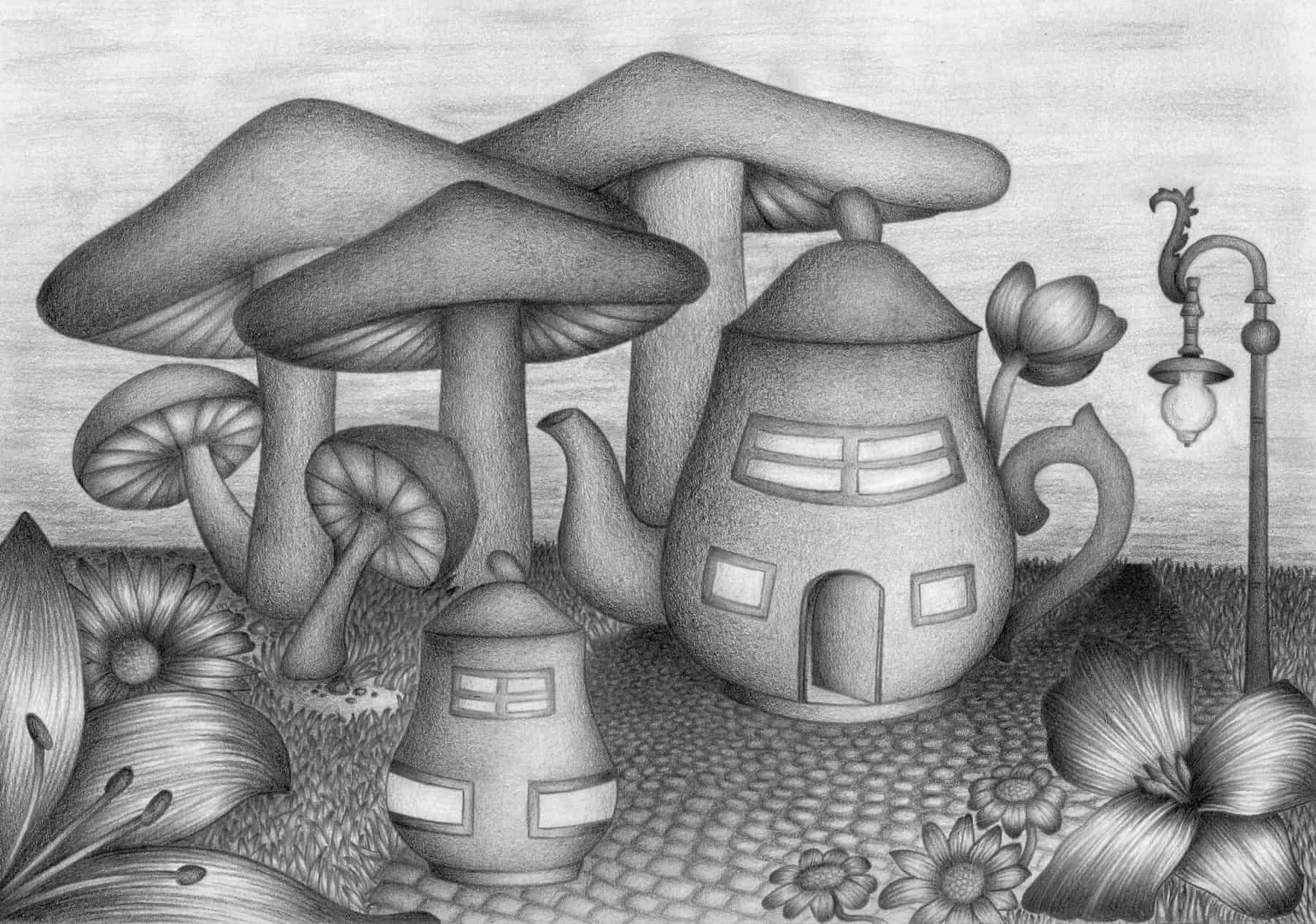 Wunderland - 21,0cm x 29,7cm - Bleistift auf Papier by Nadin Wunderlich