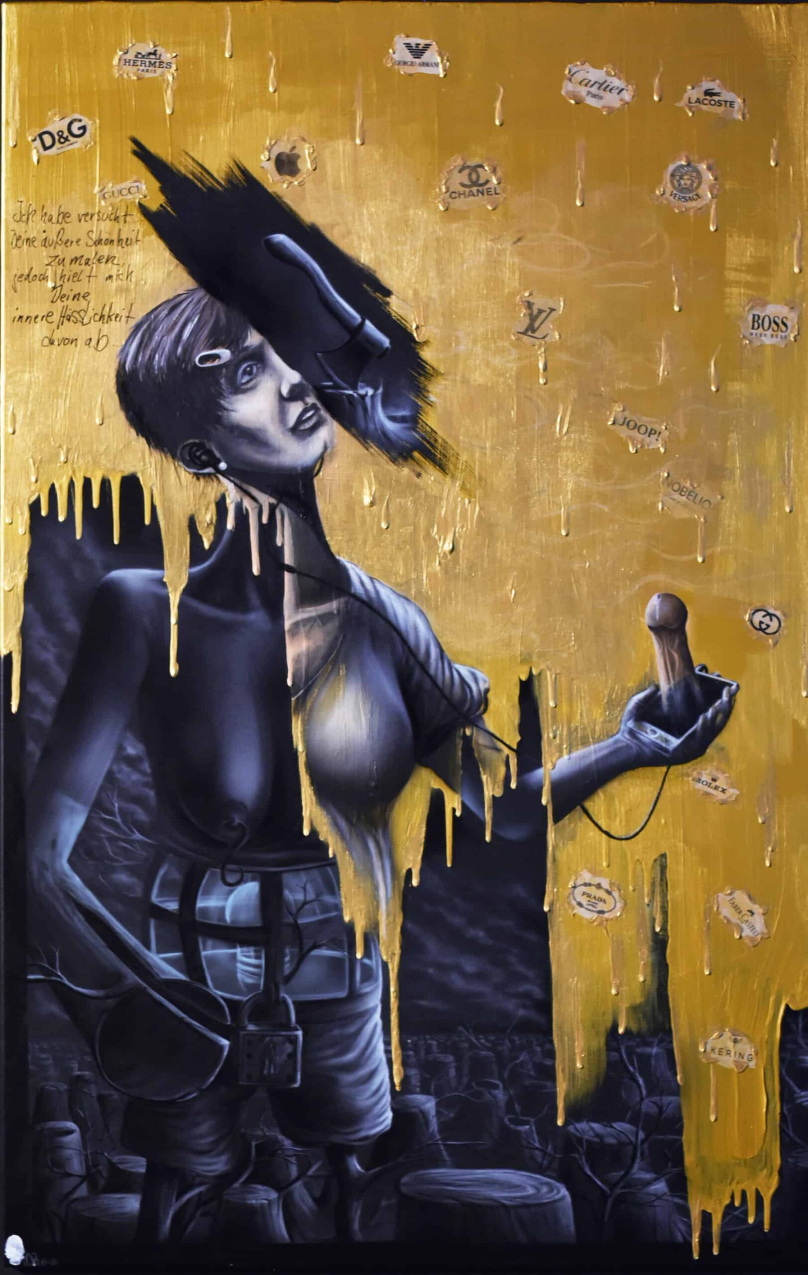 abgestumpfteOberflächligkeitÖlundAcrylaufLinwand by Steve Bauer Painting Leipzig